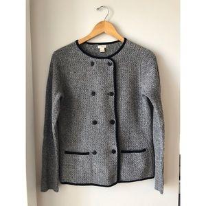 J Crew Lambs Wool Cardigan Grey Size Small